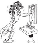 1044156-Royalty-Free-RF-Clip-Art-Illustration-Of-A-Cartoon-Black-And-White-Outline-Design-Of-A-Sleepy-Woman-With-Curlers-Staring-At-Herself-In-A-Mirror